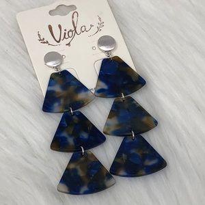 Triple Blue Silver Dangle Statement Post Earrings